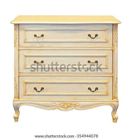 Classic Drawers Cabinet Isolated Included Clipping Path