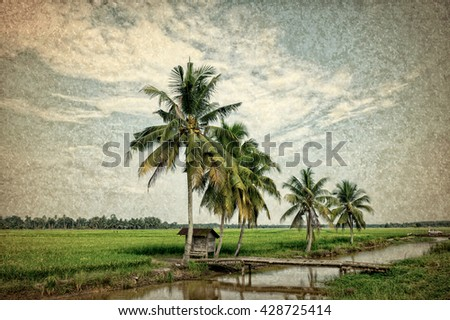 classic editing landscape with classic view - stock photo