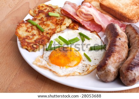 classic eggs, hash browns and bacon breakfast