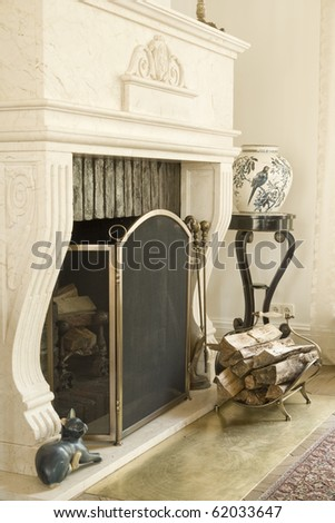 classic fireplace - stock photo