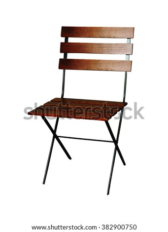 Classic French design outdoor folding chair with a black metal frame - stock photo