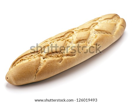 classic French loaf of bread, isolated on white