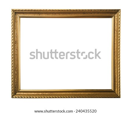 Classic gold frame. Isolated over white background with clipping path - stock photo