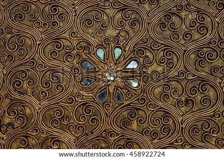 Classic gold metal pattern, Islamic Arabian Persia pattern. golden window closeup. - stock photo