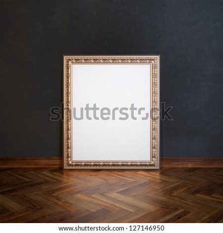 Classic Golden Carved Frame In Galerry Interior (Black Wall Version) - stock photo