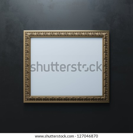 Classic Golden Carved Frame On Black Wall (Rectangle Horizontal Version) - stock photo