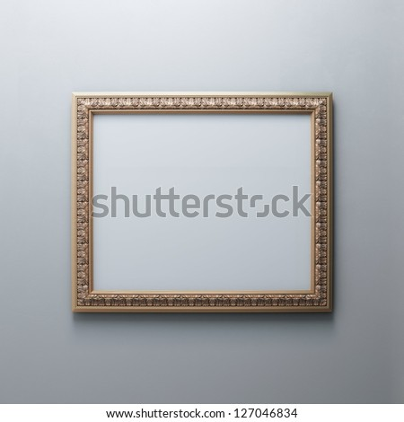 Classic Golden Carved Frame On White Wall (Rectangle Horizontal Version) - stock photo