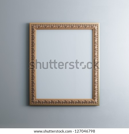 Classic Golden Carved Frame On White Wall (Rectangle Vertical Version) - stock photo