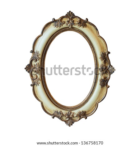 Classic golden frame isolated on white background - stock photo