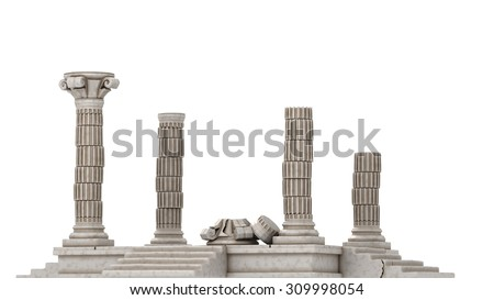 Classic Greek Ruins Isolated On White - stock photo
