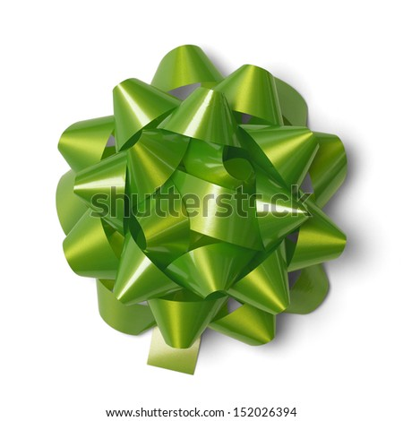 Classic Green Present Bow Isolated on White Background. - stock photo