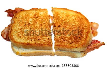 Classic Grilled Cheese with Bacon sandwich.  - stock photo
