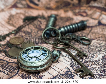 Classic Grunge Pocket Watch Clock, Skeleton Keys On Ancient World Map. - stock photo