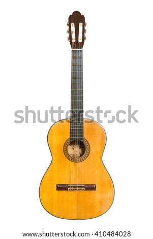 Classic guitar isolated on white background. - stock photo