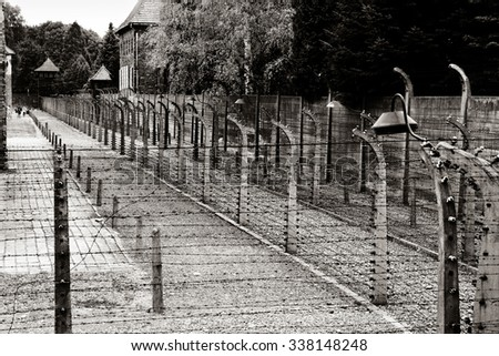 classic historical view of Auschwitz death camp in sepia - stock photo