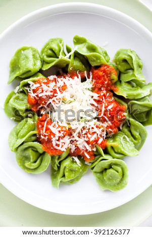 classic homemade Italian ravioli with spinach and ricotta, spring style