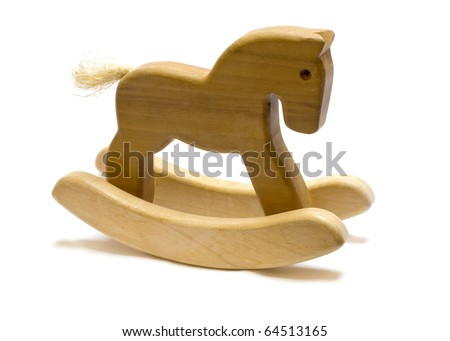 Classic homemade wooden rocking horse on white background. - stock photo