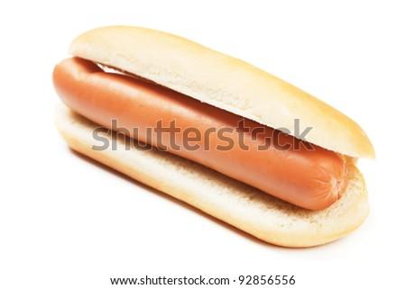Classic hot dog isolated on white background - stock photo