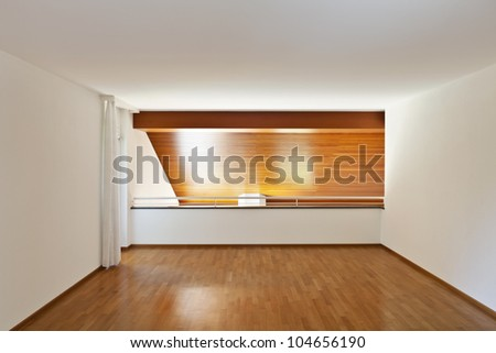 classic house, interior, empty room with wooden floor