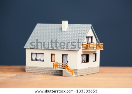 classic house model on blue background