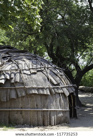 Classic hut used by the native American Wampanoag tribe at Plimoth plantation