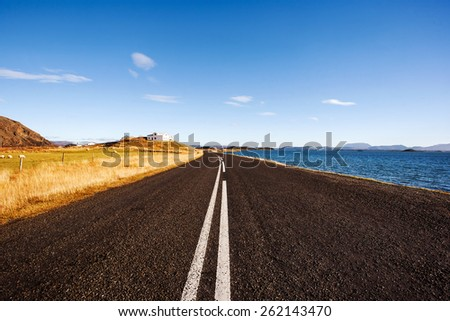 Classic Icelandic road. Iceland.  - stock photo