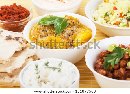 Classic indian curry with ginger and potato - stock photo