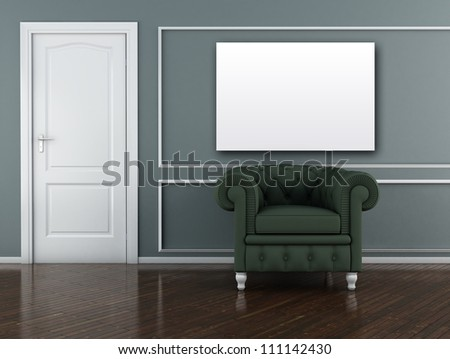 Classic interior (3D render) -  The Green Armchair - stock photo