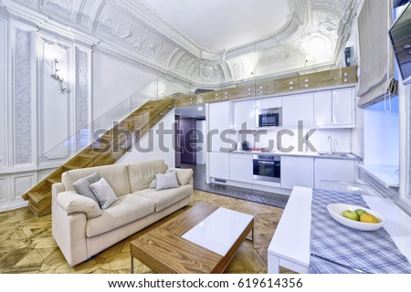 Classic Interior Design Duplex Apartment White Stock Photo (Royalty ...