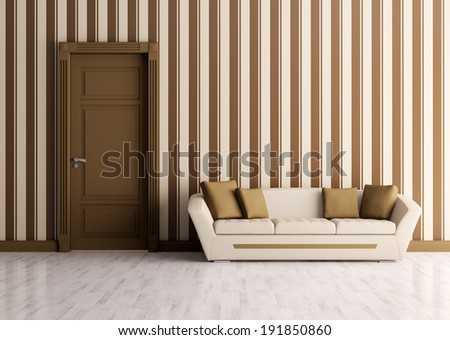 Classic interior of a room with door and sofa - stock photo