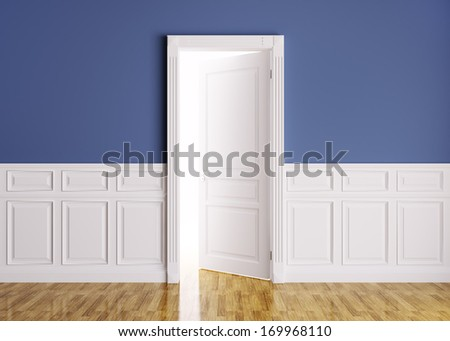 Classic interior of a room with opened door 3d render - stock photo