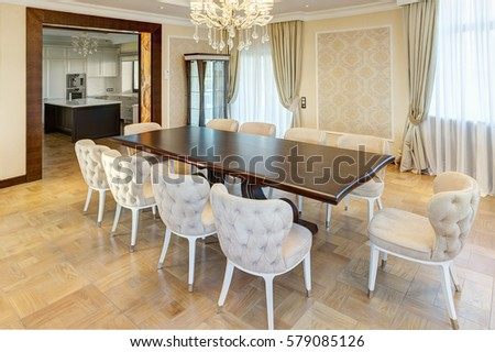 Classic Interior Of Dining Room In Brown, White, Beige Colors, With Crystal  Chandelier Part 66
