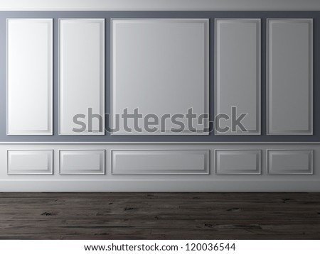 Classic interior with blue wall and wooden floor - stock photo