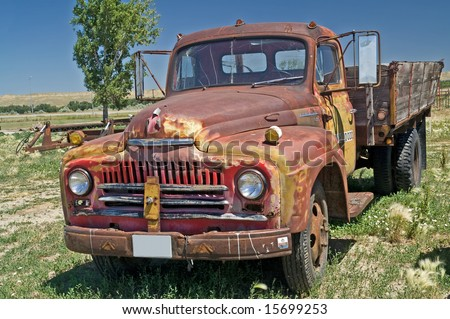 Classic International truck with wooden truck bed