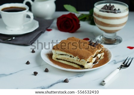 classic Italian dessert tiramisu on white background for valentine's day St.