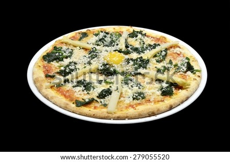 Classic italian pizza with asparagus, mozzarella cheese, egg and spinach in white plate on black background. Point of view - stock photo
