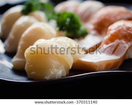 Classic japanese food, sushi on a plate