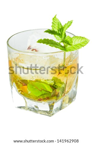 classic Kentucky derby cocktail the mint julep isolated on a white background - stock photo