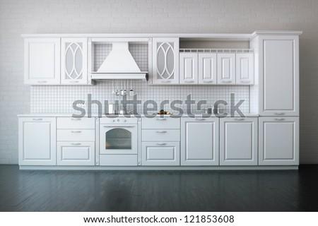 Classic Kitchen In Luxury Apartment - stock photo