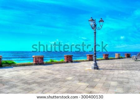 classic lamppost in Alghero coastline, Sardinia - stock photo