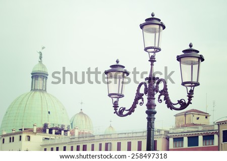 classic lamppost in Venice in vintage tone - stock photo