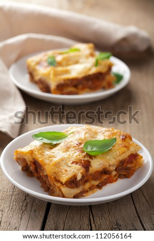 classic lasagna bolognese - stock photo