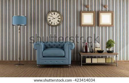 Classic Leather Armchair In A Vintage Living Room With Wallpaper   3d  Rendering