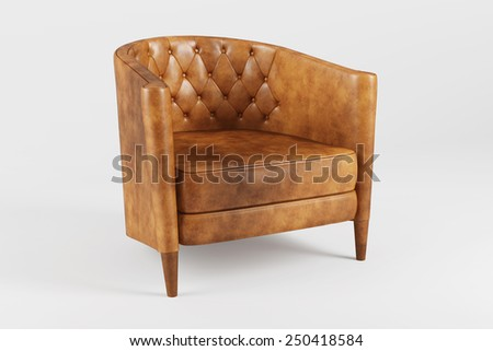 Classic leather armchair isolated on white background. - stock photo