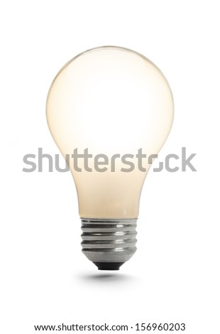 Classic Light Bulb Lit Up Isolated on a White Background.
