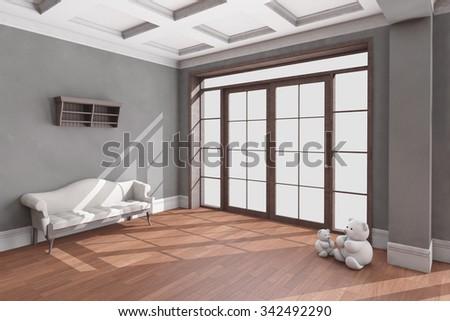 Classic living room interior with hardwood floor. 3D illustration - stock photo