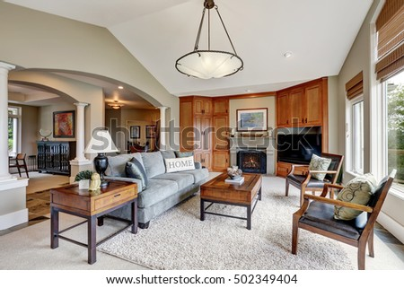 Foyer entrance home showing lounge seating stock photo 26980201 ...