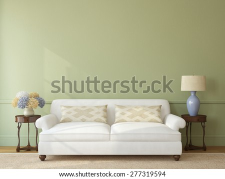 Classic living-room interior with white couch near empty green wall. 3d render. - stock photo