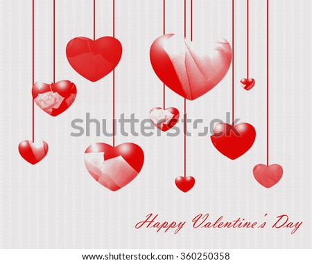 Classic love heart in Valrntines day style for gritting card