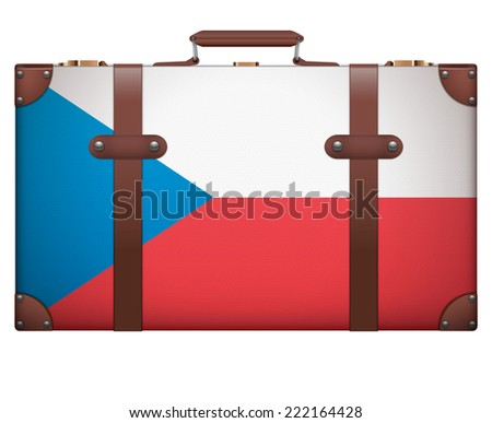 Classic luggage suitcase with flag Czech Republic for travel. Isolated on white background.